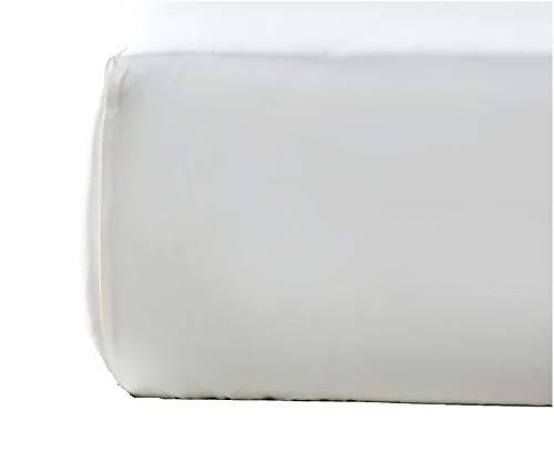 NORA HOME Sabana Bajera Ajustable Lisa 100% Algodon Saten Mercerizado de 300 Hilos Extra Suave (Blanco, 95 x...