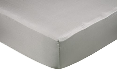 Amazon Basics Fitted Sheet, Gris, 150 x 200 x 30 cm