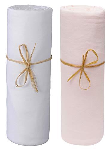 P'tit Basile – Juego de 2 sábanas bajeras para bebé de algodón de jersey orgánico, color blanco y rosa...
