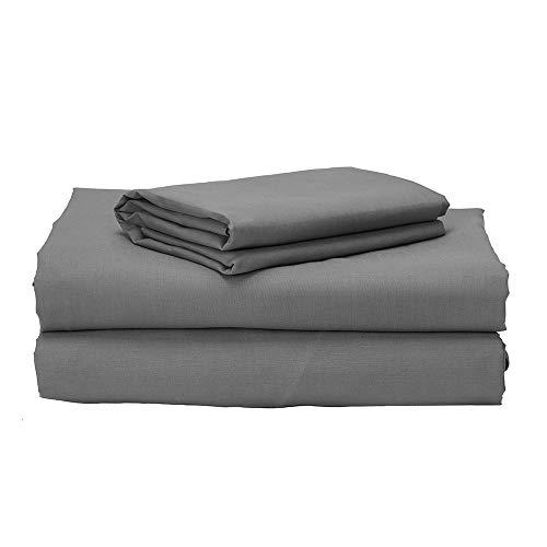 Pikolin Home - Juego de cama de 150 100% algodón de percal gris 200 hilos de primera calidad y elegante...