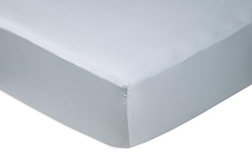 Amazon Basics Fitted Sheet, Azul Ahumando, 150 x 200 x 30 cm