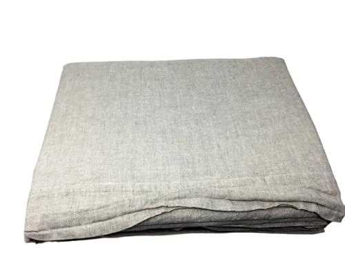 NK Home - Juego de sábanas de matrimonio de lino vintage, color crudo