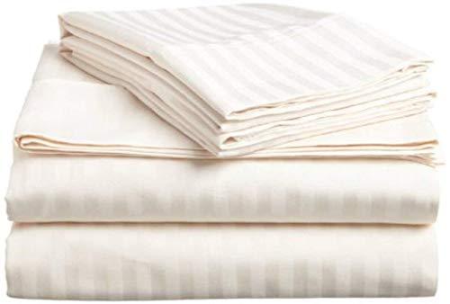 500 Hilos 4 Piezas Juego de sábanas, diseño de Rayas, 100% algodón Egipcio Premium Calidad, algodón,...