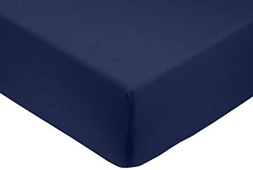 Amazon Basics - Sábana bajera ajustable (algodón satén 400 hilos, antiarrugas) Azul marino - 150 x 200 x 30...