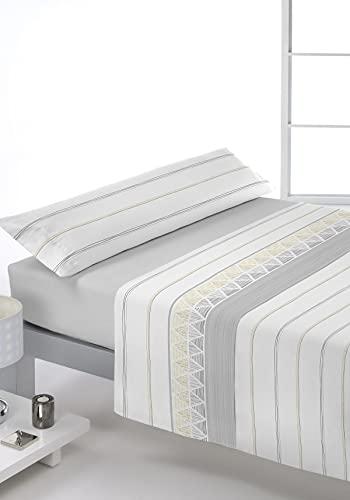 Juego de sábanas Estampado 3/Piezas Modelo: LIBER, Color: 08 Gris, Medida: Cama de 135x190/200cm.