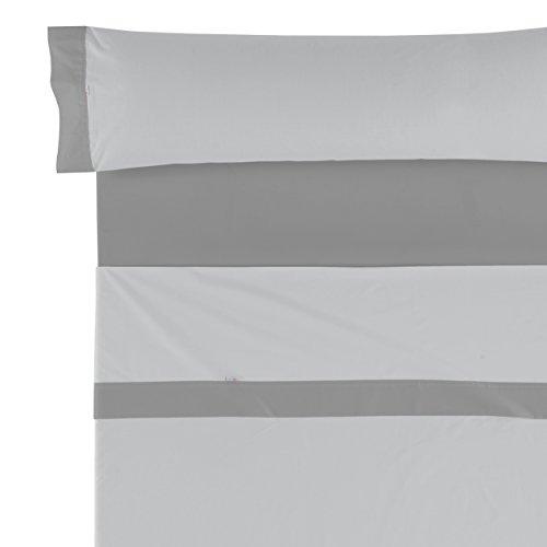 Es-Tela Lisos Aplique 50/50 Juego de sábanas, 3 Piezas, Color Perla-Plomo, Algodón-Poliéster, Cama 135/140...