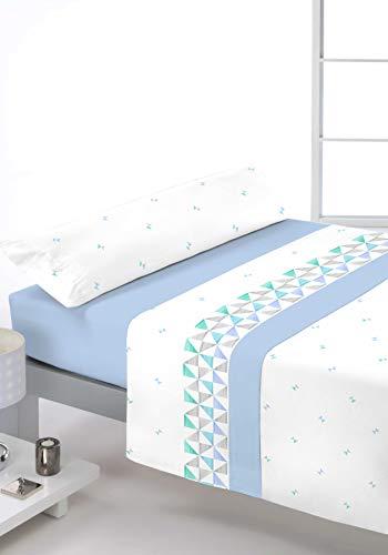 Reig Marti Juego DE SÁBANAS Estampado 3/Piezas Modelo: VEDAR, Color: 03 Azul, Medida: Cama DE 105x190/200cm.