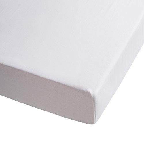 Sancarlos - Sábana bajera , 100% Algodón percal, Color blanco, Cama de 150