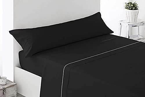 DESING-Textil-Power: Juego sábanas Verano 3 Piezas Negra Lisa. (Negro, 150x190-200cm)