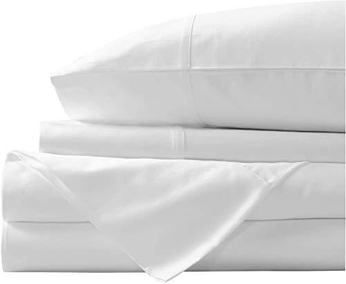 Juego de sábanas de algodón egipcio de 400 hilos, juego de sábanas de algodón con grapas 100% largas,...