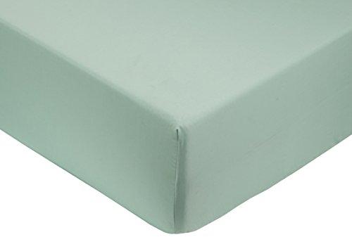 Amazon Basics - Sábana bajera ajustable (algodón satén 400 hilos, antiarrugas) Verde - 150 x 200 x 30 cm