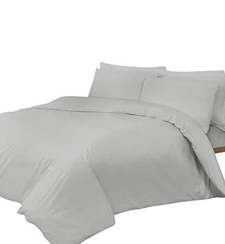 Linen Zone - Sábana de algodón egipcio, 400 hilos, algodón egípcio Lino algodón, Plateado, 2 King Size...