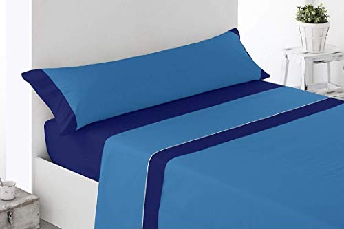 Power-Home: Juego Sábanas Completo 3 Piezas Verano Suaves. (105X190/200CM, Marino/Azul)