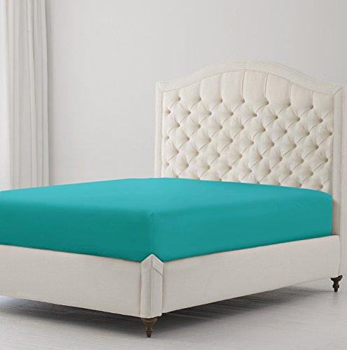 Sunshine Comfort® - Sábana bajera elástica de algodón de percal de 180hilos, laterales de 25 cm, no...