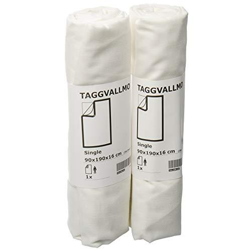 Ikea TAGGVALLMO - Juego de sábanas bajeras básicas (90 x 190 cm), color blanco