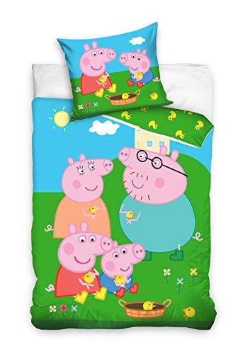 Peppa Pig PP202014 - Juego de funda nórdica y funda de almohada (100 x 135 cm y 40 x 60 cm), diseño de...
