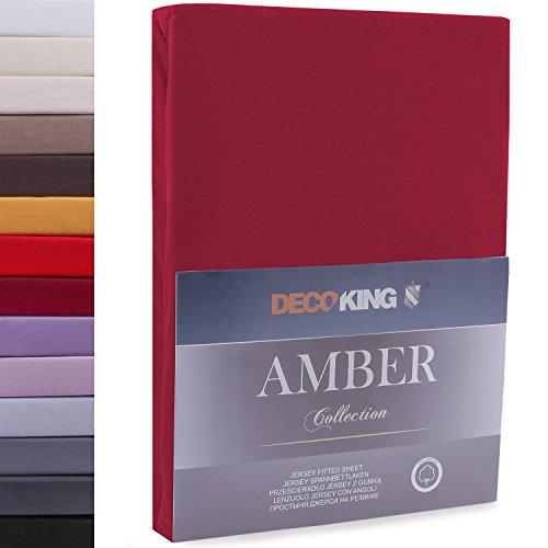 DecoKing 160x200-180x200 cm Sábana Bajera Ajustable 100% Algodón Jersey Burdeos Amber Collection