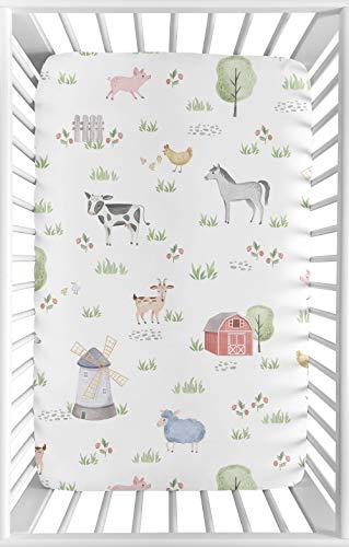Sweet Jojo Designs - Sábana bajera para cuna portátil para cuna o paquete y juego; diseño de animales de...