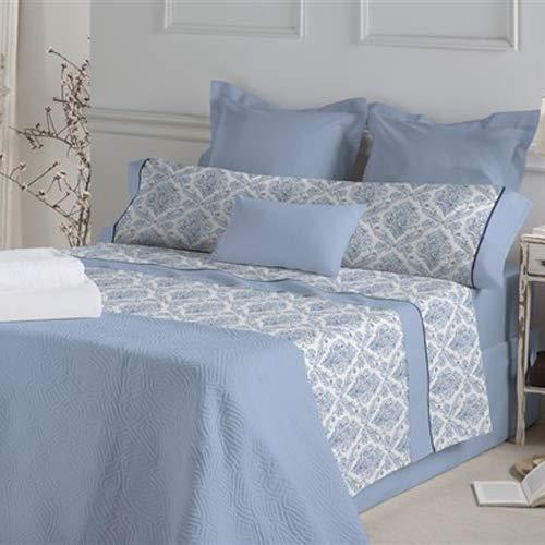 DON ALGODÓN.- Juego de sábanas Anouk Color Azul para Cama de 180