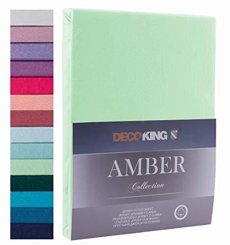 Decoking - Sábana bajera ajustable de 100 % algodón, White Amber Collection, algodón, menta, 200x200 -...