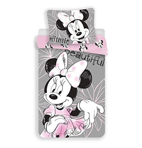 Unbekannt Disney Minnie Mouse Beautiful - Juego de cama reversible (140 x 200 cm, funda de almohada de 70 x 90...