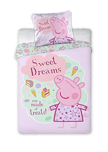 Juego de cama infantil de Peppa Pig (2 piezas, 100% algodón, 40 x 60cm + 100 x 135cm, con cremallera),...