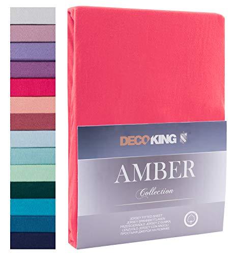 Decoking - Sábana bajera ajustable de 100 % algodón, White Amber Collection, algodón, rosa, 200x200 -...