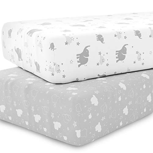 Juego de sábanas de cuna unisex para colchón estándar de bebé o niño pequeño – 2 unidades – Sábanas...