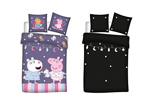 Peppa Pig - Juego de ropa de cama para bebé (2 piezas, 100% algodón, 100 x 135 cm, 40 x 60 cm), diseño de...