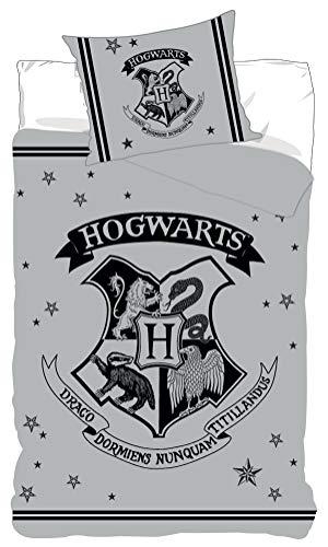 BrandMac Harry Potter - Juego de cama (funda nórdica de 140 x 200 cm y funda de almohada de 63 x 63 cm,...