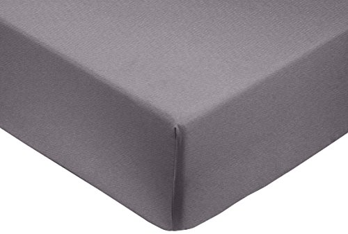 Amazon Basics - Sábana bajera ajustable (algodón satén 400 hilos, antiarrugas) Gris oscuro - 150 x 200 x 30...
