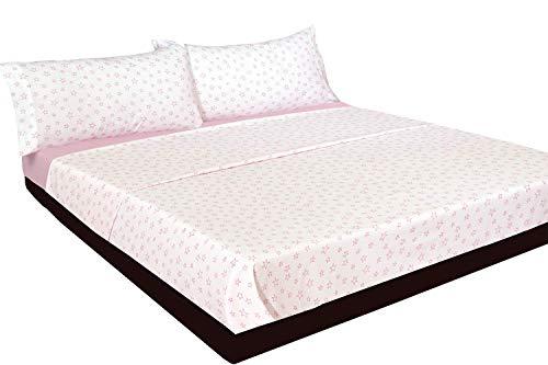 Montse Interiors Juego de sábanas Estrellas Rosas Algodón 100% (A-Paris Rosa, para Cama de 90x190/200)…