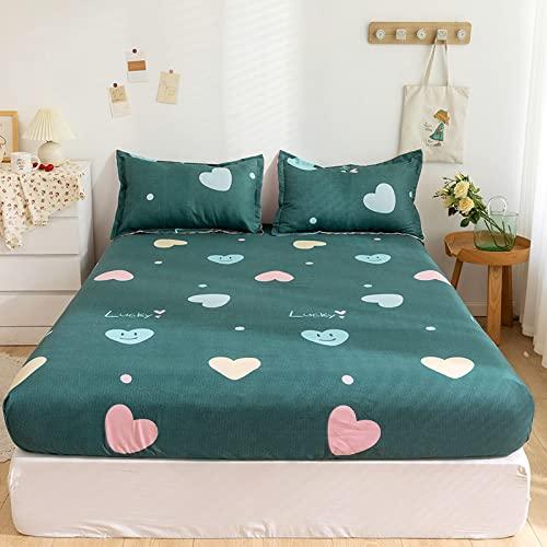 HAIBA Sábanas de cama ajustadas, 100% poliéster, mezcla de algodón, sábanas suaves y cómodas, lavable a...