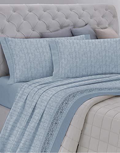 Gemitex - Juego de sábanas Fabricado en Italia de Franela 100 % algodón, para Cama de Matrimonio, línea...