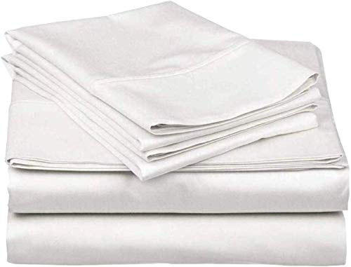 4 Piece Bed Sheets Set, 100% Egyptian Cotton 400 Thread Count, Hotel Luxury Bed Sheets - Extra Soft -38 CM...