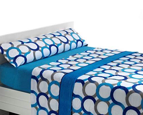 SABANALIA Juego de sábanas de coralina Aros - Cama 150, Azul