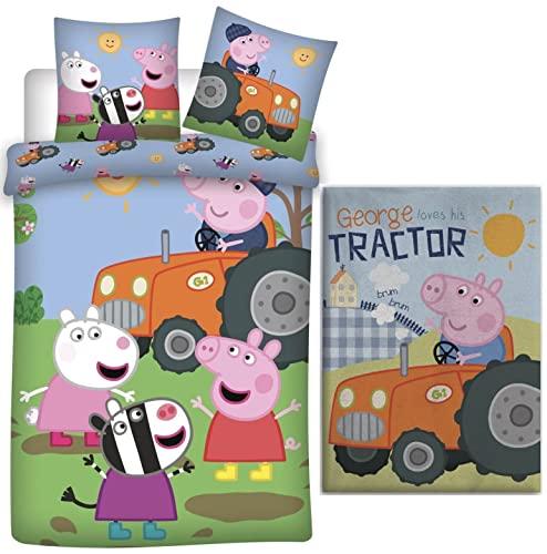 rainbowFUN.de Peppa Pig George Traktor - Juego de ropa de cama para bebé (100 x 135 cm y 100 x 140 cm),...