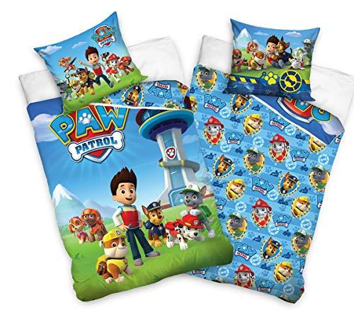 Tex Idea 195009 Juego de ropa de cama reversible de La Patrulla Canina, 135 x 200 cm y 80 x 80 cm, 100%...