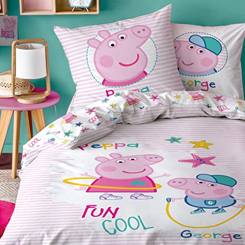 Peppa Wutz CTI Ropa de cama reversible de Peppa Pig · Ropa de cama infantil para niñas · Rosa, Blanco ·...
