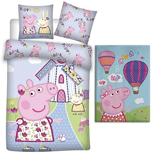 rainbowFUN.de Peppa Pig - Juego de ropa de cama para bebé (100 x 135 cm) y manta polar (100 x 140 cm)