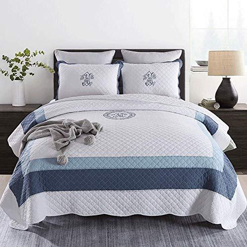 Edredón bordado Cubrecamas dobles Throw Cotton King Size Fundas de cama acolchadas de 3 piezas (230x250cm)...