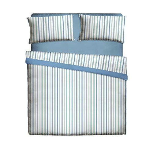 Pikolin Home, Juego de sábanas 50% algodón y 50% poliéster a rayas con sábana encimera, bajera y una funda...