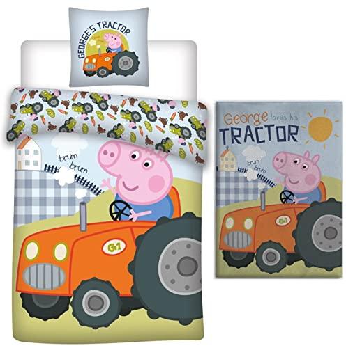 rainbowFUN.de Peppa Pig George Traktor - Juego de ropa de cama para bebé (100 x 135 cm) y manta polar (100 x...