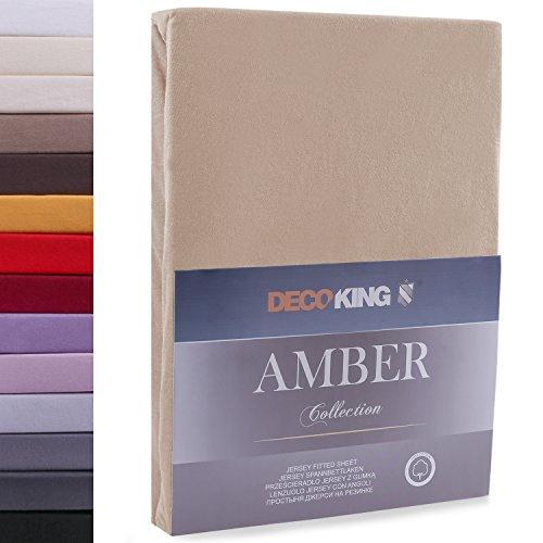 DecoKing 160x200-180x200 cm Sábana Bajera Ajustable 100% Algodón Jersey Capuchino Amber Collection