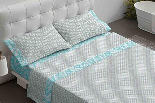 Burrito Blanco Juego de Sábanas 476 con un Diseño de una Pequeña Geometría para Cama Individual de 120x190...