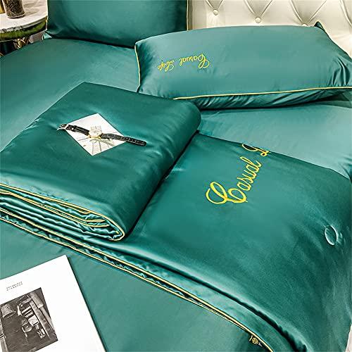Juego de sábanas de seda de verano para dormir caliente, súper suave, transpirable, juego de sábanas de...