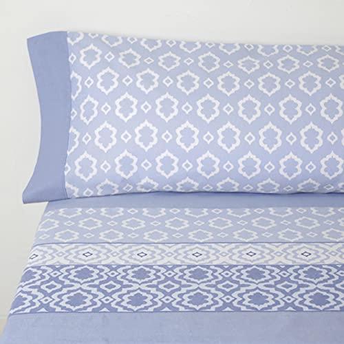10XDIEZ Sábanas Franela sofía Azul   (Cama 150 cm - Azul)