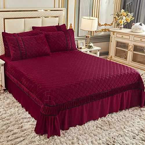 Keep Warm Colcha Colcha gruesa de terciopelo de cristal acolchado Colchas antiestáticas Juego de cama de 3...