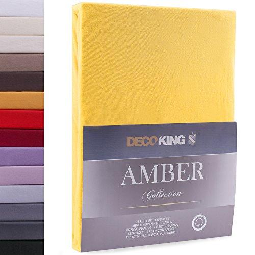 DecoKing 160x200-180x200 cm Sábana Bajera Ajustable 100% Algodón Jersey Naranja Amber Collection