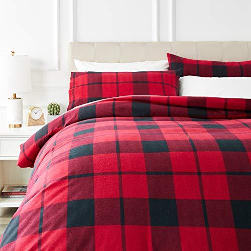 Amazon Basics - Juego de cama de franela con funda nórdica - 200 x 200 cm/50 x 80 cm x 2, Tartán rojo